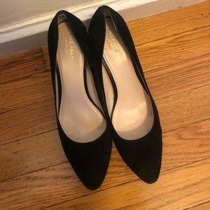 Cole Haan black velvet block heel